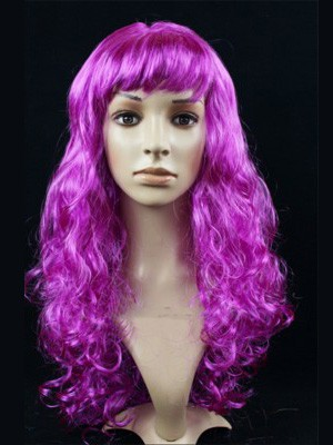 Showy Purple Long Wavy Capless Synthetic Cosplay Wig