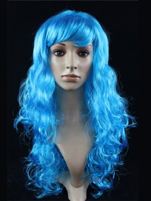 Blue Wavy Long Synthetic Capless Wigsith Bang Cosplay Wig