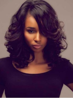 "14"" Body Wave Natural Black 360 Lace Wigs Remy Human Hair"