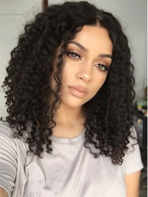 "16"" Curly Natural Black 360 Lace Wigs"