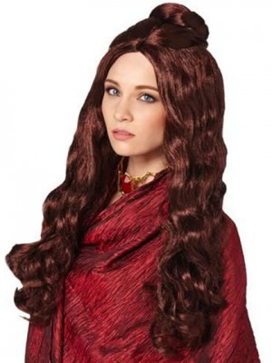 Pretty Long Wavy Auburn Synthetic Capless Cosplay Wig