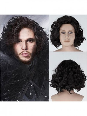 Black Medium Curly Synthetic Cosplay Wig Capless