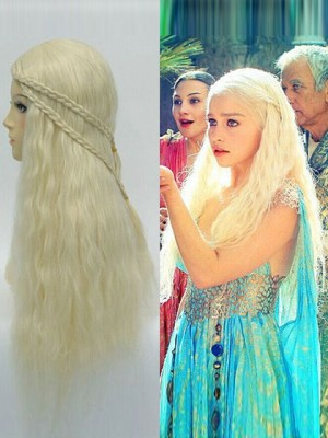 Beautiful Blonde Long Wavy Capless Synthetic Cosplay Wig