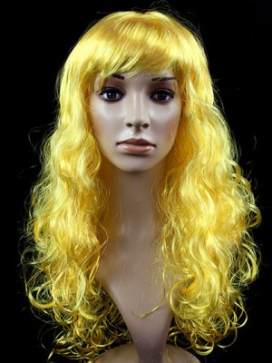 Vivid Yellow Long Wavy Capless Synthetic Cosplay Wig