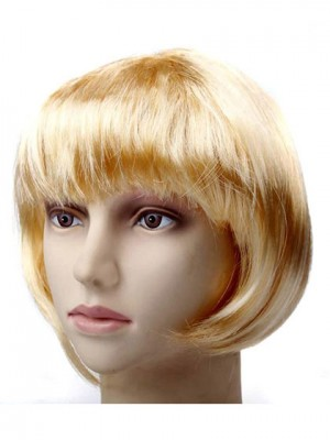 Blonde Short Straight Synthetic Capless Cosplay Wig With Bang