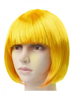 Lovely Yellow Straight Short Synthetic Capless Cosplay Wig