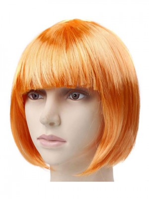 Orange Short Straight Capless Synthetic Cosplay Wig With Bang