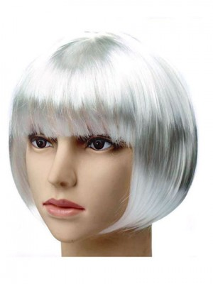 Silver Bob Straight Short Synthetic Capless Cosplay Wig