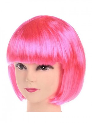 Charming Pink Short Straight Capless Synthetic Cosplay Wig