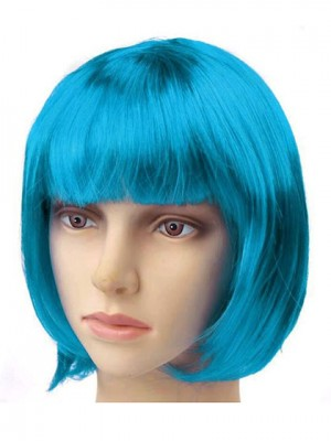 Short Blue Straight Synthetic Capless Cosplay Wig With Bang