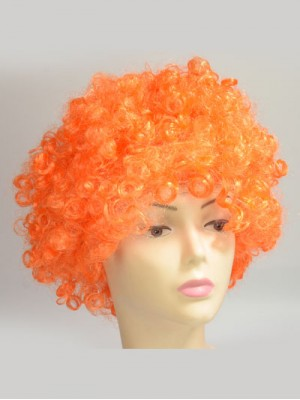 Orange Curly Short Cheap Capless Synthetic Cosplay Wig