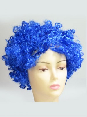 Blue Cheap Short Curly Synthetic Capless Cosplay Wig