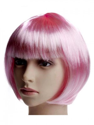 Fascinating Bob Pink Short Straight Synthetic Capless Cosplay Wi
