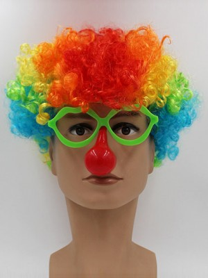 Clown Colorful Short Curly Synthetic Capless Cosplay Wig