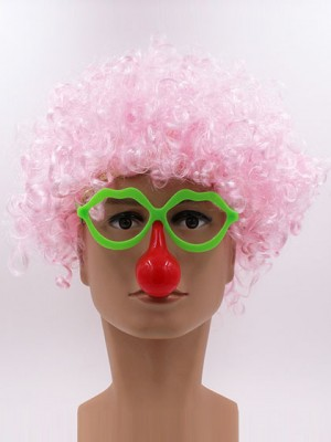 Pink Clown Curly Short Synthetic Capless Cosplay Wig