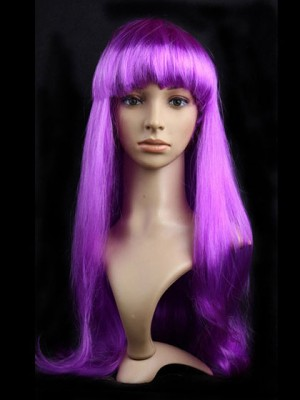 Lilac Synthetic Capless Straight Long Cosplay Wig With Bang