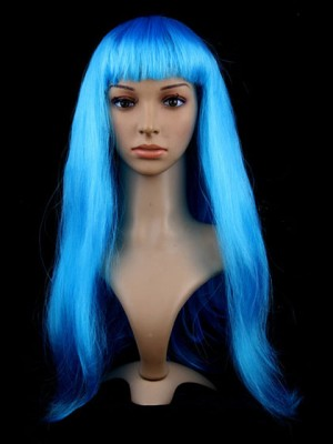 Blue Capless Long Straight Synthetic Cosplay Wig