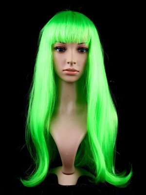 Green Long Straight Capless Synthetic Cosplay Wig With Bang