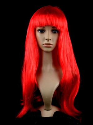 Showy Straight Long Red Synthetic Capless Cosplay Wig