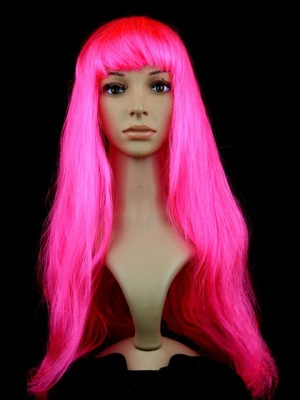 Bright Long Straight Pink Synthetic Capless Cosplay Wig