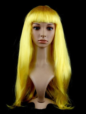 Brilliant Long Straight Yellow Synthetic Capless Cosplay Wig
