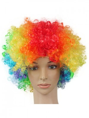Colorful Short Curly Clown Synthetic Capless Cosplay Wig