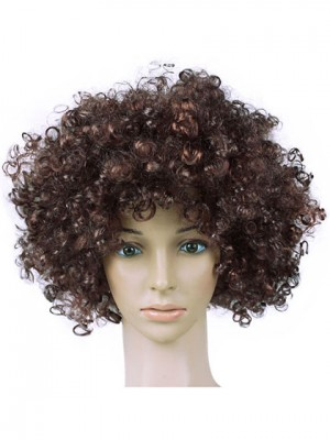 Very Cheap Clown Brown Short Curly Capless Synthetic Cosplay Wig