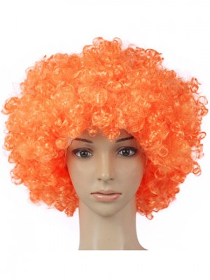 Conspicuous Short Curly Clown Orange Synthetic Capless Cosplay Wig
