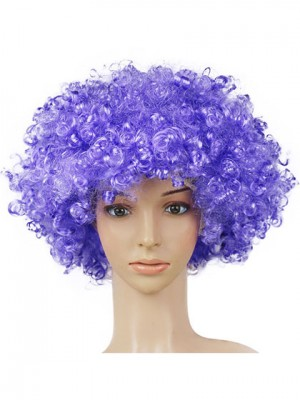 Curly Short Blueviolet Synthetic Capless Fluffy Cosplay Wig