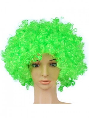 Fluffy Green Medium Curly Synthetic Capless Cosplay Wig