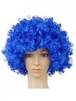 Soft Blue Short Curly Synthetic Capless Cosplay Wig
