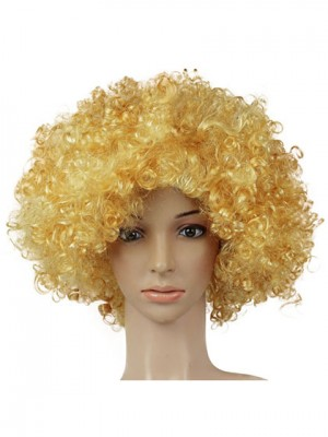 Excelent Golden Curly Medium Synthetic Capless Cosplay Wig