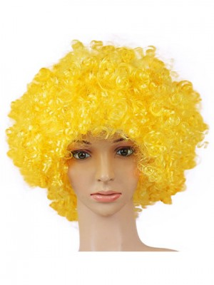 Showy Curly Medium Yellow Synthetic Capless Cosplay Wig