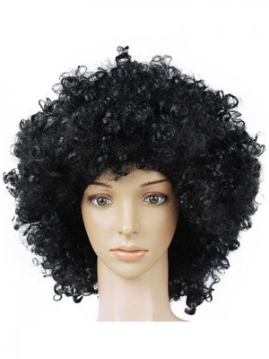 Meidum Black Curly Cheap Synthetic Capless Cosplay Wig