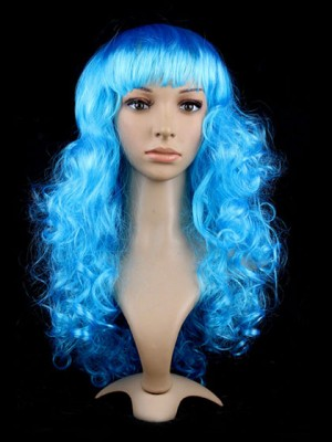 Long Curly Blue Synthetic Capless Cosplay Wig With Bang