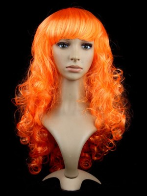Bright Orange Curly Long Capless Synthetic Cosplay Wig