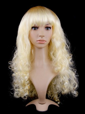 Soft Synthetic Capless Long Curly Golden Cosplay Wig With Bang