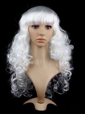 White Curly Long Capless Synthetic Cosplay Wig With Bang