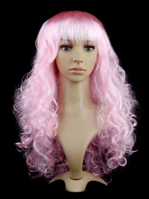 Atractive Synthetic Capless Long Curly Pink Cosplay Wig
