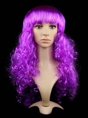 Curly Long Purple Synthetic Capless Cosplay Wig Witn Bang