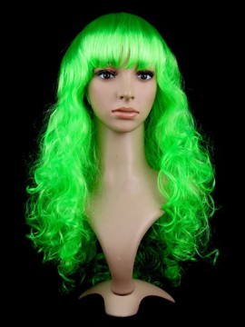 Flamboyant Synthetic Capless Curly Long Green Cosplay Wig