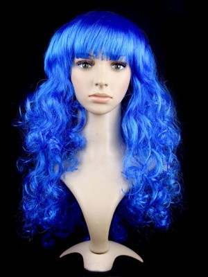 Royalblue Synthetic Capless Long Curly Cosplay Wig With Bang
