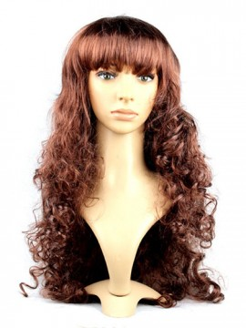 Cheap Long Curly Brown Synthetic Capless Cosplay Wig