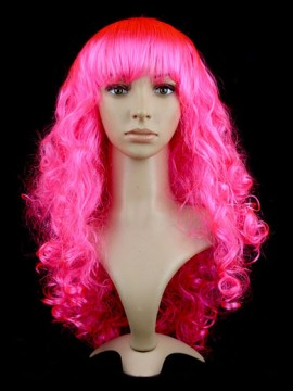 Curly Long Synthetic Capless Pink Cosplay Wig With Bang