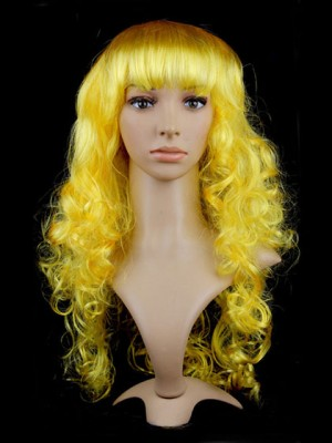 Warm Long Yellow Synthetic Capless Curly Cosplay Wig