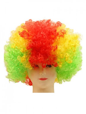 Fleecy Clown Short Curly Synthetic Capless Cosplay Wig
