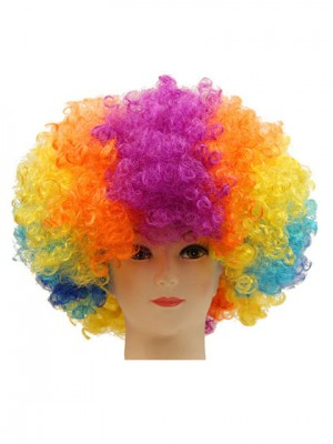 Curly Short Clown Colorful Synthetic Capless Cosplay Wig