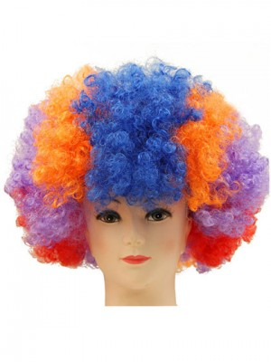 Colorful Cheap Clown Short Curly Synthetic Capless Cosplay Wig