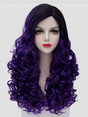 Purple Long Curly Cosplay Wig Synthetic Capless Cosplay Wig