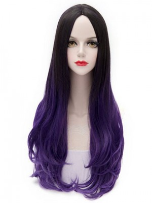 Lovely Long Straight Purple Synthetic Capless Cosplay Wig